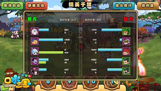 图片2:《口水三国》点击上方战斗统计可以查看敌我两方的输出情况